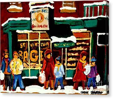Boulangerie Bakery Deli Paintings St Viateur Bagel Shop Montreal Art City Scenes Carole Spandau Canvas Print by Carole Spandau