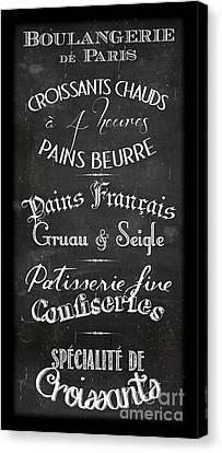 Boulangerie Canvas Print - Boulangerie Menu by Marion De Lauzun