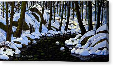 Boulder Brook In Winter Canvas Print by Frank Wilson
