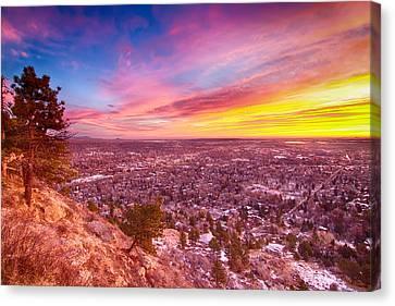 Boulder Colorado Colorful Sunrise City View Canvas Print