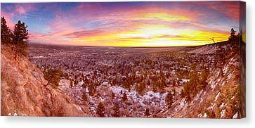 Boulder Colorado Colorful Sunrise Wide Panorama View Canvas Print by James BO  Insogna