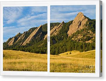 Boulder Colorado Flatirons White Window Frame Scenic View Canvas Print by James BO  Insogna