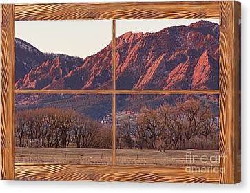 Boulder Flatirons Morning Barn Wood Picture Window Frame View Canvas Print