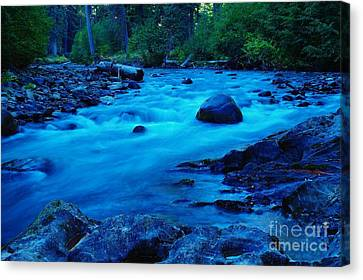 Boulder In The Rapids  Canvas Print
