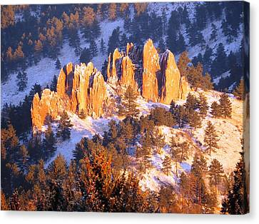 Boulder Red Rocks Glowing Canvas Print