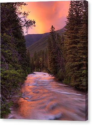 Boulder River Sunset Canvas Print by Leland D Howard