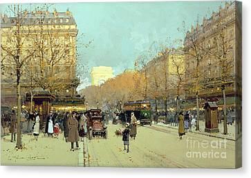 Boulevard Haussmann In Paris Canvas Print by Eugene Galien-Laloue