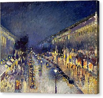 Boulevard Montmarte At Night Canvas Print by Pg Reproductions
