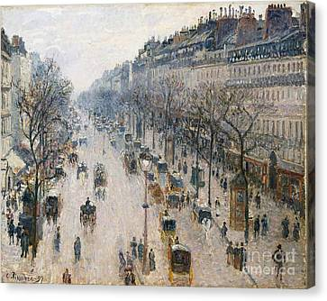 Boulevard Montmartre On A Winter Morning Canvas Print by Celestial Images