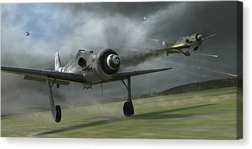 Fighter Canvas Print - Bounced by Robert Perry