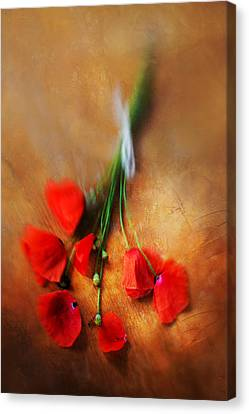 Bouquet Of Red Poppies And White Ribbon Canvas Print by Jaroslaw Blaminsky