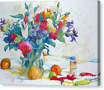 Bouquet And Red Peppers Canvas Print by Andre MEHU