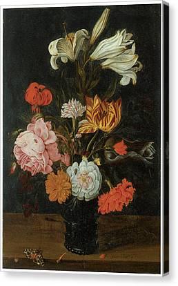 Bouquet In A Roemer Canvas Print by Jan Baptist Van Fornenburgh