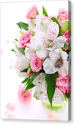 Bouquet Of Flowers Canvas Print by Boon Mee