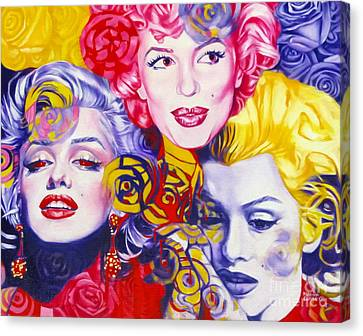 Canvas Print featuring the painting Bouquet Of Marilyn by Rebecca Glaze
