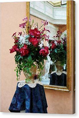 Bouquet Of Peonies With Reflection Canvas Print by Susan Savad