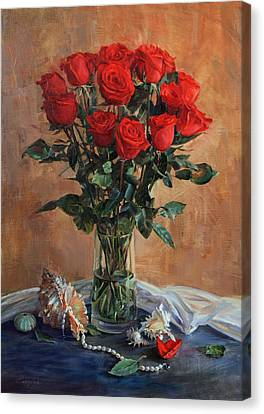 Bouquet Of Red Roses On The Birthday Canvas Print
