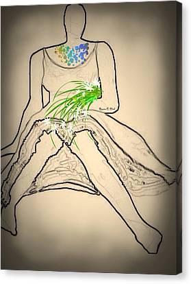 Bouquet-sketch Canvas Print by Romaine Head