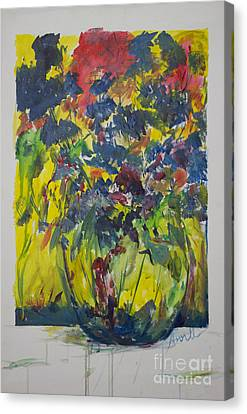 Canvas Print featuring the painting Bouquet With Blue Flowers by Avonelle Kelsey