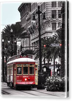 Bourbon And Canal Trolley Cropped Canvas Print