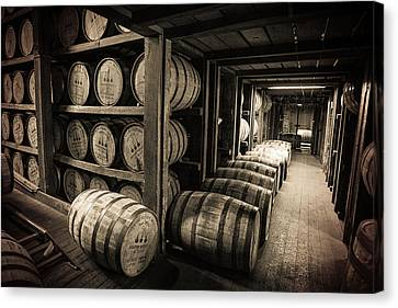 Tone Canvas Print - Bourbon Barrels by Karen Varnas