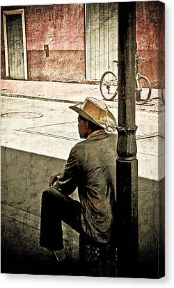 Canvas Print featuring the photograph Bourbon Cowboy In New Orleans by Ray Devlin