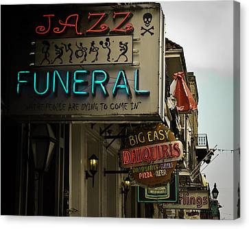 Canvas Print featuring the photograph Bourbon Street Bar Signs In New Orleans by Ray Devlin