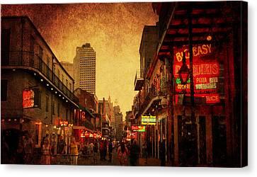 Bourbon Street Grunge Canvas Print by Judy Hall-Folde
