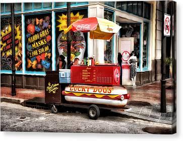 Bourbon Street Lucky Dog Canvas Print by Bill Cannon