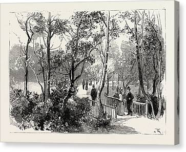 Bournemouth, View In Public Gardens, Engraving 1890, Uk Canvas Print