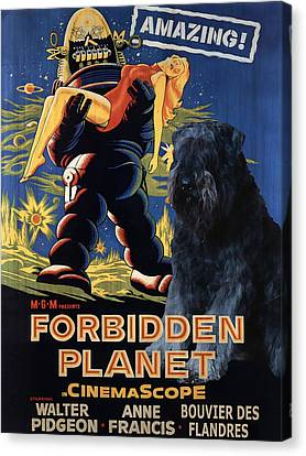 Bouvier Des Flandres - Flanders Cattle Dog Art Canvas Print - Forbidden Planet Movie Poster Canvas Print by Sandra Sij
