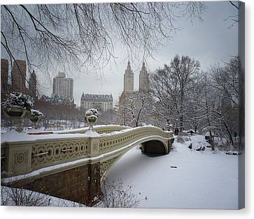 New York City Skyline Canvas Print - Bow Bridge Central Park In Winter  by Vivienne Gucwa