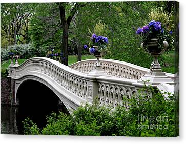 Relief Canvas Print - Bow Bridge Flower Pots - Central Park N Y C by Christiane Schulze Art And Photography