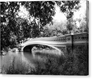 Bow Bridge In Black And White Canvas Print by Jessica Jenney