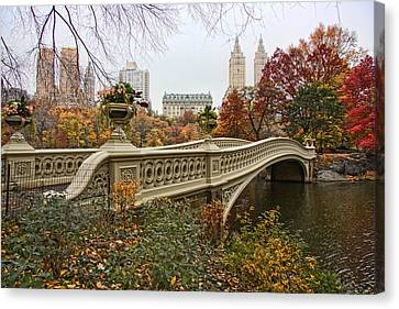 Autumn Canvas Print - Bow Bridge In Central Park by June Marie Sobrito