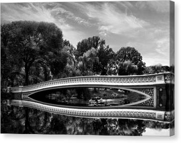 Bow Bridge In Monochrome Canvas Print