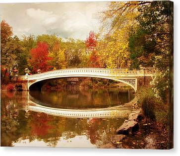 Canvas Print featuring the photograph Bow Bridge Reflected by Jessica Jenney