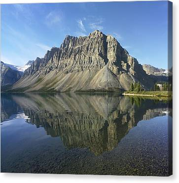 Bow Lake And Crowfoot Mts Banff Canvas Print by Tim Fitzharris