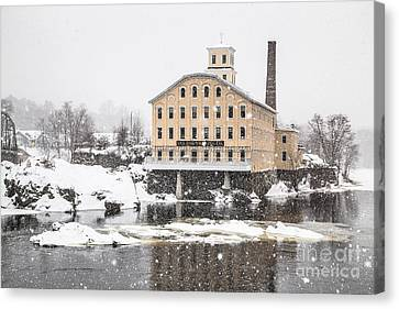 Bowdoin Mill In Heavy Snow Canvas Print