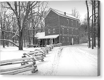 Split Rail Fence Canvas Print - Bowen's Mill In Winter by Randall Nyhof