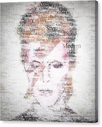 Bowie Typo Canvas Print by Taylan Apukovska