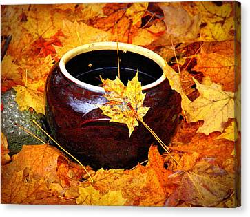 Canvas Print featuring the photograph Bowl And Leaves by Rodney Lee Williams