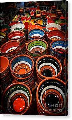 Ceramic Bowl Canvas Print - Bowl Me Over  by Mary Machare
