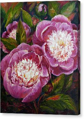 Bowl Of Beauty Peony Canvas Print by Karen Mattson