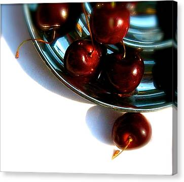 Bowl Of Cherries Canvas Print by Tracy Male