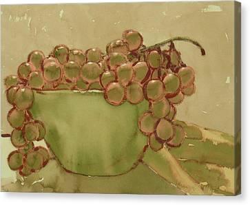Bowl Of Grapes Canvas Print