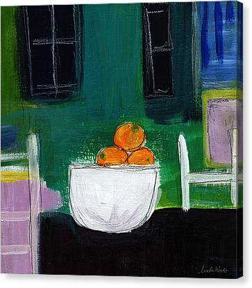 Bowl Of Oranges- Abstract Still Life Painting Canvas Print by Linda Woods