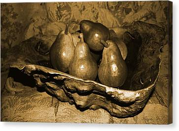 Bowl Of Pears - Sepia Canvas Print by Amanda Holmes Tzafrir