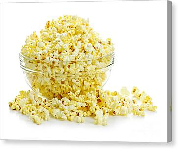 Bowl Of Popcorn Canvas Print