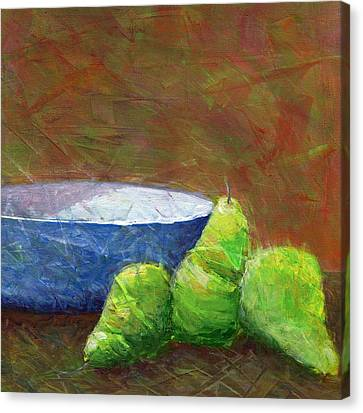 Bowl With Pears Canvas Print by Karyn Robinson